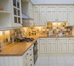 kitchen wooden countertop colorful backsplash white floor in cabinets with wood countertops design 14