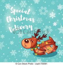 Special Christmas Delivery Holiday Card With Cute Cartoon Deer
