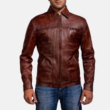 mens abstract maroon leather jacket 1