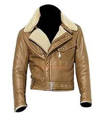 mens brown vintage biker leather jacket with fur collar mens