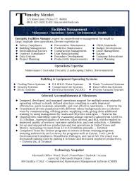 Template Resume Samples Professional Facilities Manager Sample