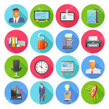 Office Icons Flat Set With Report Coffee Cup And Clock Isolated