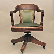 vintage antique wooden swivel bankers or library chair antique swivel desk chair