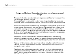 analyse and evaluate the relationships between religion and social  document image preview