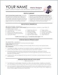 Interior Design Sample Resume Resume Samples For Interior Designers