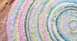 rag rug custom order round shabby chic pink green white khaki