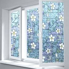 stained glass static cling window film flower privacy textured stained  glass window film home decorative flower .
