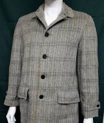 details about genuine 60s vintage mens wool mid length gray plaid coat small 38 mad winter