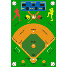 la rug fun time baseball field multi colored 3 ft x 5 ft area rug ft 122 3958 the home depot