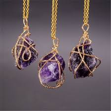 dropwow sedmart handmade irregular wire wrapped pendant necklace women natural stone crystal quartz fluorite necklaces