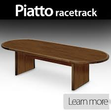 piatto computer conference table with racetrack ends and options for flipit multi use monitor mounts