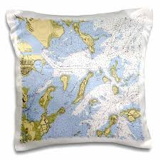 Nautical Chart Pillows 3drose Print Of Boston Harbor Nautical Chart Pillow Case 16 By 16 Inch
