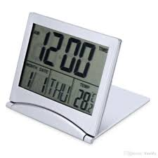 2018 led alarm clock folding digital lcd for travel temperature calendar snooze function cr2505 batteries flexible cover design from zfrankly