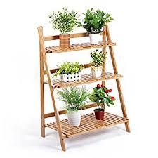 Wooden Ladder Display Stand MALAYAS 100 Tier Plant Ladder Stand Shelves Indoor Garden Herb 32