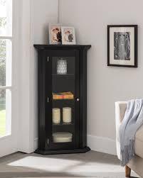 didan black wood contemporary corner curio display cabinet with 3 storage shelves glass doors com