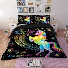 unicorn bedding set star cartoon duvet cover pillow cases twin full queen king super king size kids bedclothes bed cover flannel duvet quilted duvet cover