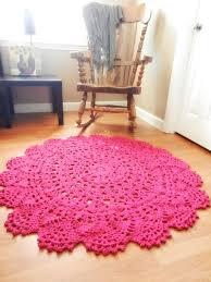 Giant Crochet Doily Rug   Magenta  Hot Pink Lace  Large Area Rug  Handmade   Cottage Chic  Oversized  Shabby Chic Rug, Round Rug Via Etsy.