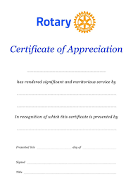Certificate Recognition Rotary Appreciation Certificate