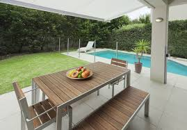 roof deck furniture. Modern Pool-side Patio Design With Outdoor Dining Table Roof Deck Furniture