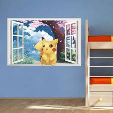 2017 3D Wall Stickers Cute Window Pikachu Pokemon Kids Room Home With  Regard To Pokemon Bedroom
