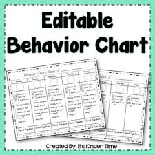 Free Editable Behavior Chart Editable Behavior Chart By Its Kinder Time Teachers Pay