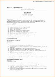 Resume For Makeup Artist Resume Format For Makeup Artist