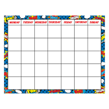 Teacher Created Resources Superhero Calendar Chart 7569