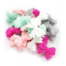 <b>Chenkai</b> 100pcs BPA Free Silicone Bowknot Teether Beads DIY ...