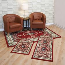 Rug Sets For Living Rooms Capri 3 Piece Rug Set Savonnerie Red Walmartcom