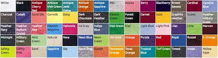 Gildan 5000 Color Chart 2018 T Shirt Details Color Chart Glow In The Dark T Shirts By