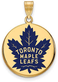 gold plated 925 silver nhl toronto maple leafs large enamel disc pendant logoart
