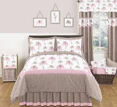 elephant pink taupe bedding set 4 piece twin size by sweet jojo designs