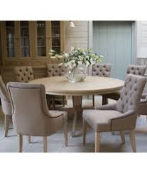 neptune henley 150cm round pedestal table and 6 henley linen dining chairs