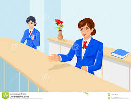 smiling bank teller or receptionist royalty stock images front office stock photos