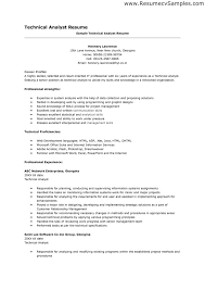 sample resume sle of technical analyst resume technical analyst resume