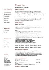 Compliance Officer Resume Objective Sample Example Regulations