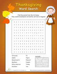 Thanksgiving Word Search Worksheet Education Com