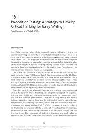 essays on higher education higher education essay topics essay  proposition testing a strategy to develop critical thinking for the palgrave handbook of critical thinking in