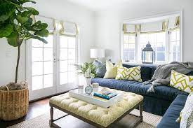 with yellow ottoman coffee table