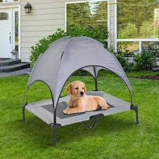 pawhut large elevated pet bed foldable outdoor cat dog canopy cot