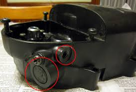 rt100 generation changes the large plugged hole circled in red that leads into the unused section you can also see the threaded oil pump cable hole circled in red that needs
