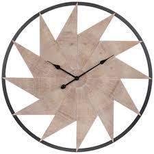 whitewash pinwheel wood wall clock