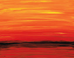 Painting Red Orange Modern
