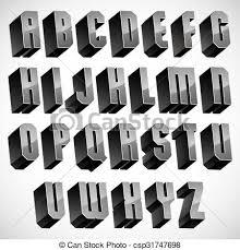Letters In Design 3d Font Geometric Dimensional Letters Set