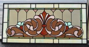 victorian stained glass fleur de lis design circa