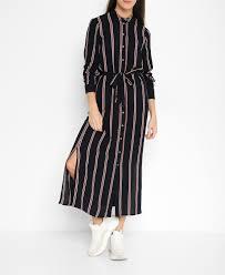 Vero Moda Size Chart Navy Striped Belted Shirt Dress