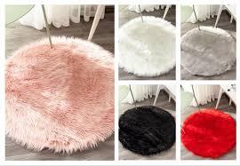 Hot <b>Round</b> Shaped Shaggy Faux Fur Fluffy Rug <b>Hairy</b> Carpet <b>Floor</b> ...