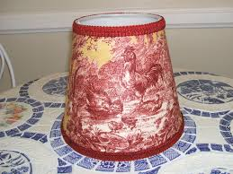 last1 s red gold petite ferme rooster french country toile lamp shade chandelier