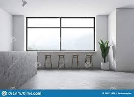 Industrial Style White Minimalistic Bar Interior Stock