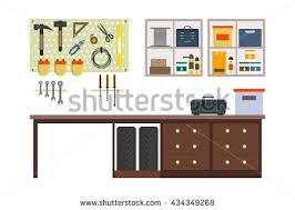 garage inside. Flat Garage Inside. Working Place With Tools In Storeroom. Interior. Tools, Inside